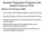 teacher preparation programs with explicit focus on pck29