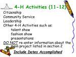 4 h activities 11 12