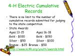 4 h electric cumulative records