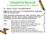 cumulative records i accomplishments in the record
