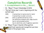 cumulative records i accomplishments in the record35