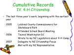 cumulative records iv 4 h citizenship