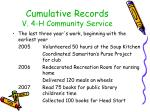 cumulative records v 4 h community service