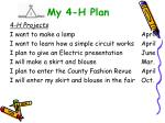 my 4 h plan