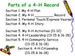 parts of a 4 h record