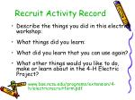 recruit activity record