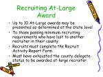 recruiting at large award