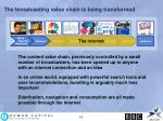 the broadcasting value chain is being transformed