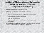 institute of mathematics and informatics bulgarian academy of science http www math bas bg