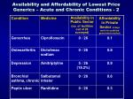 availability and affordability of lowest price generics acute and chronic conditions 2