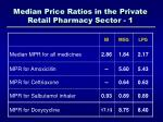 median price ratios in the private retail pharmacy sector 1