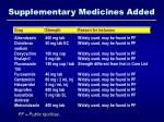 supplementary medicines added