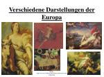 verschiedene darstellungen der europa