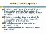 reading assessing details
