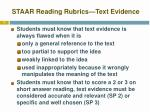 staar reading rubrics text evidence