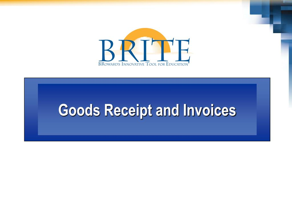Goods Receipt and Invoices