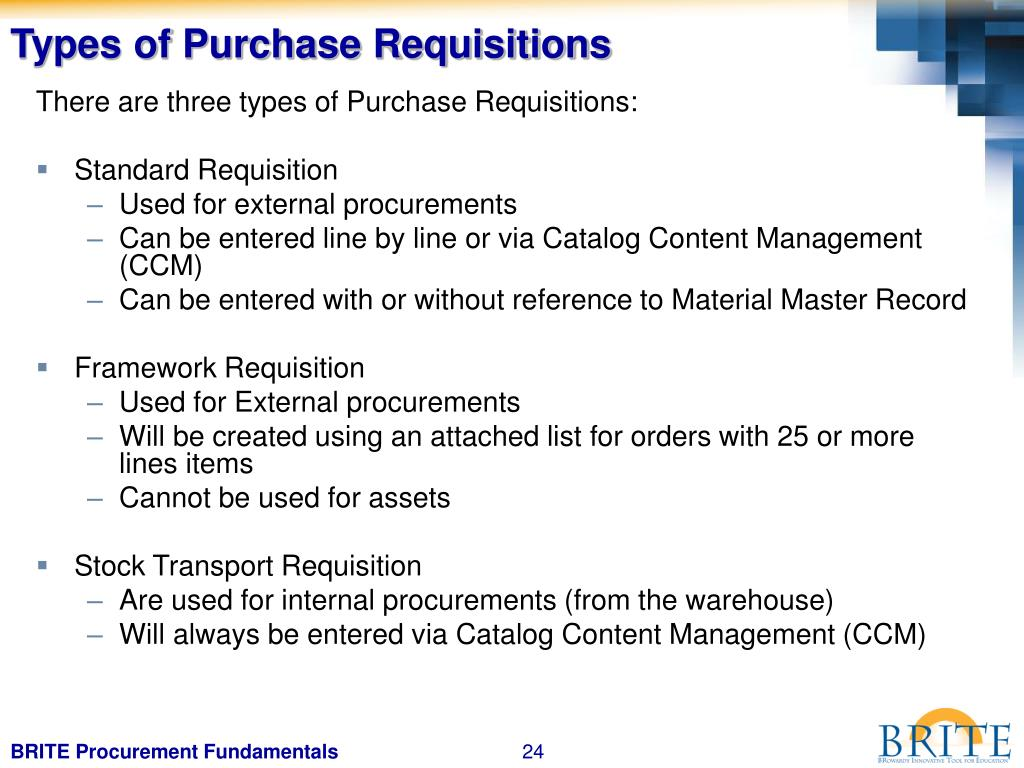 Types of Purchase Requisitions