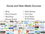 social and new media sources