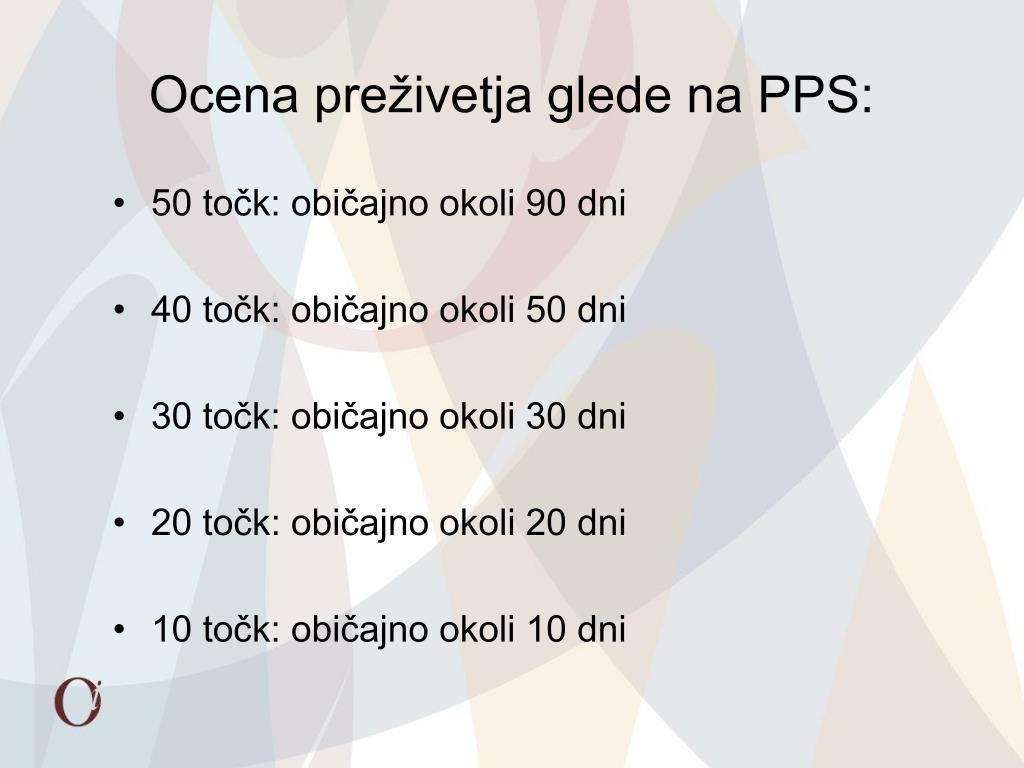 Ocena preživetja glede na PPS: