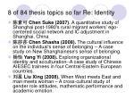 8 of 84 thesis topics so far re identity
