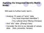 applying the integrated identity matrix model