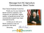 message from nc agriculture commissioner steve troxler