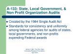 a 133 state local government non profit organization audits