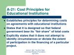a 21 cost principles for educational institutions