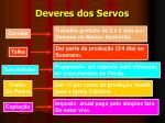 deveres dos servos