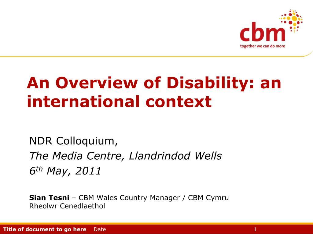 an overview of disability an international context l.