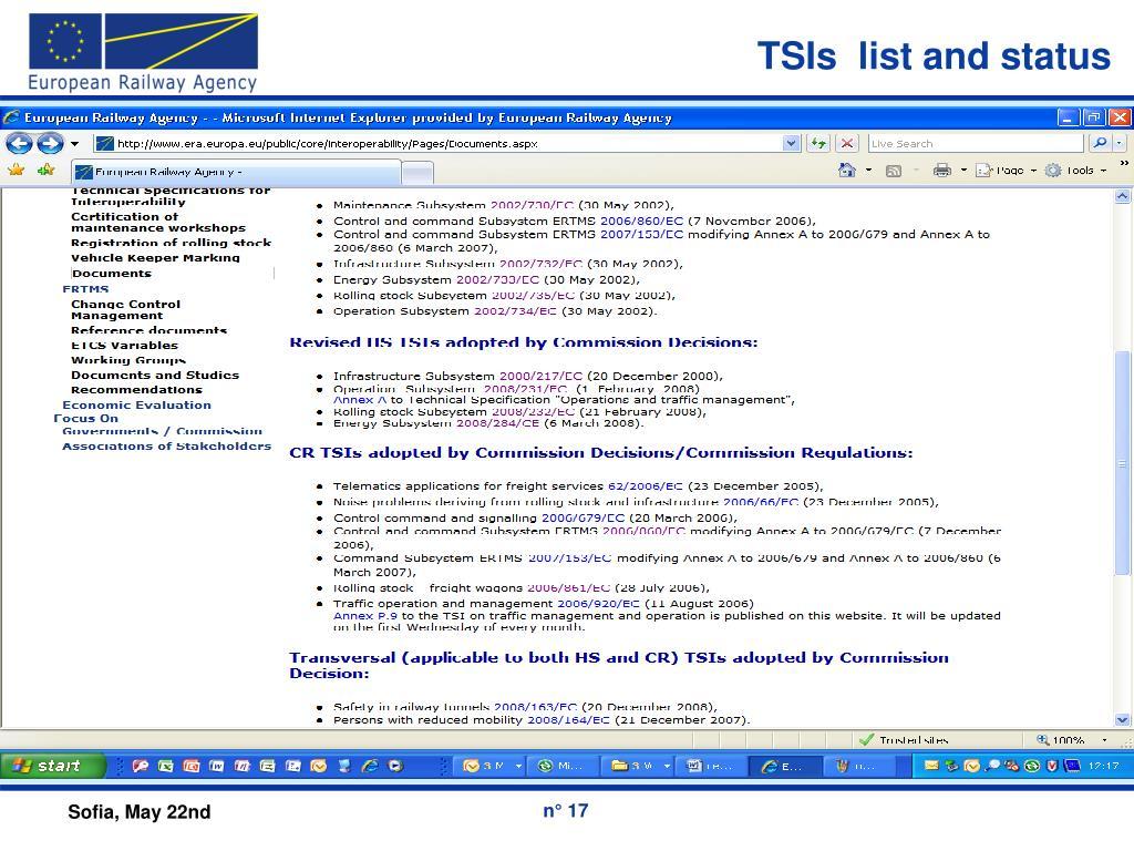 TSIs  list and status
