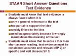 staar short answer questions text evidence