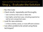 applying polya s problem solving to programming step 4 evaluate the solution
