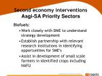 second economy interventions asgi sa priority sectors26
