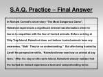 s a q practice final answer