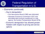 federal regulation of transportation in u s42