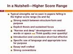 in a nutshell higher score range