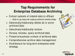 top requirements for enterprise database archiving