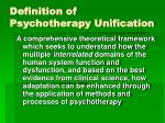 definition of psychotherapy unification