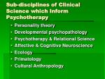sub disciplines of clinical science which inform psychotherapy
