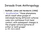 inroads from anthropology