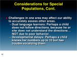 considerations for special populations cont