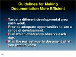 guidelines for making documentation more efficient