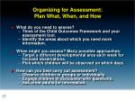 organizing for assessment plan what when and how