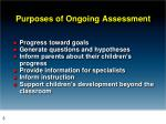 purposes of ongoing assessment