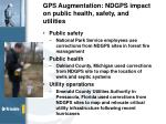 gps augmentation ndgps impact on public health safety and utilities