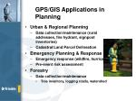 gps gis applications in planning