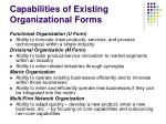 capabilities of existing organizational forms