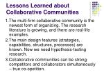 lessons learned about collaborative communities