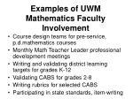 examples of uwm mathematics faculty involvement